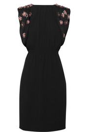 Miu Miu Embellished open-back crepe dress