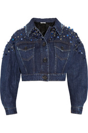 Miu Miu Embellished cropped denim jacket
