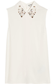 Miu Miu Embellished-collar crepe top