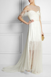 Ortygia lace, tulle and silk-satin gown