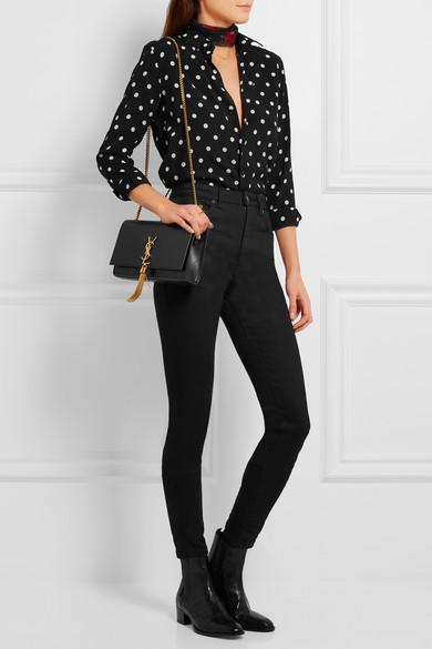 Monogramme Mini Quilted Textured-leather Shoulder Bag - Black Saint Laurent FKgcaK