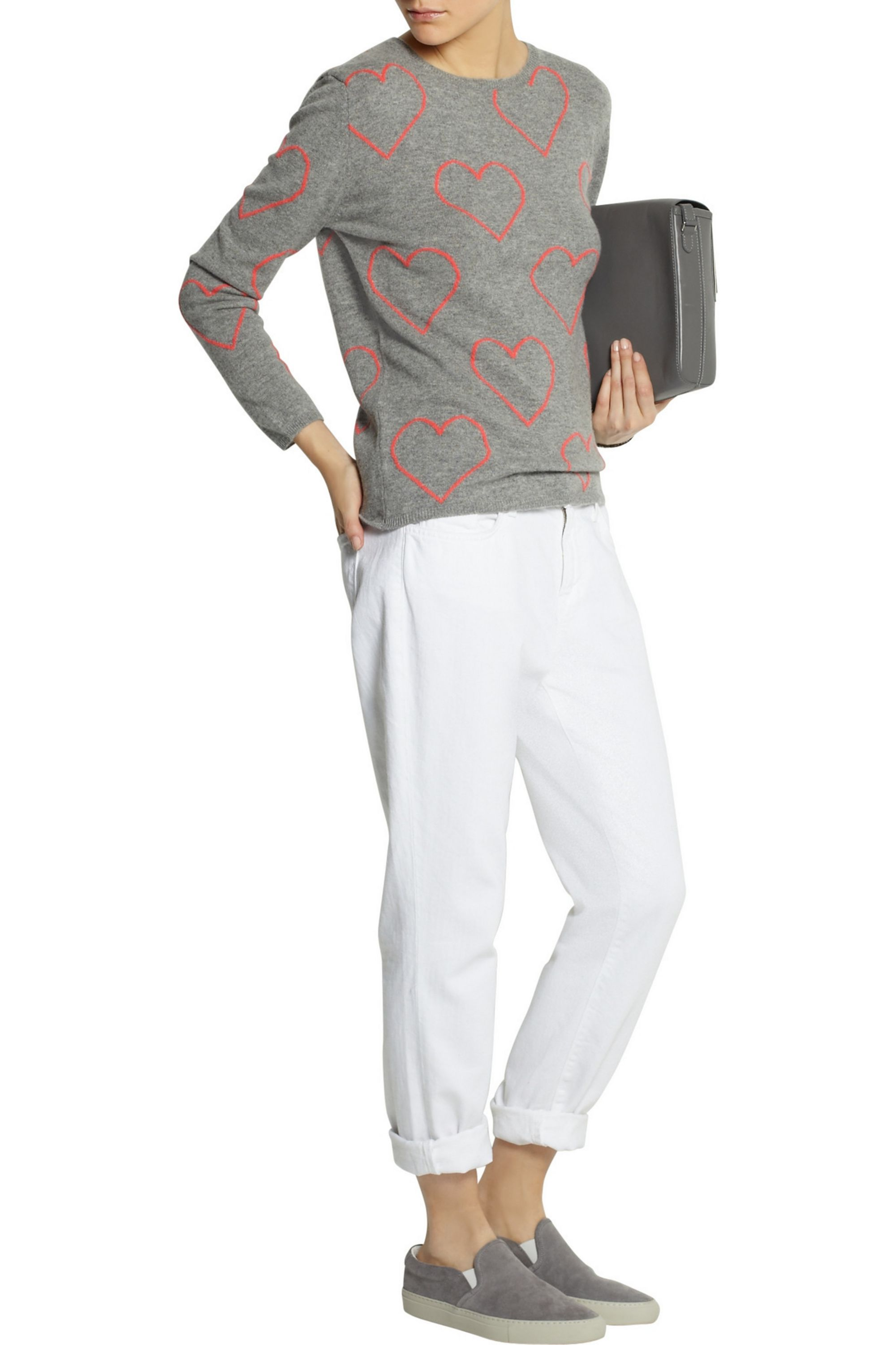 Chinti and Parker Heart-intarsia cashmere sweater