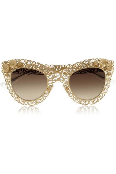 Dolce And Gabbana Gold Frame Sunglasses : Dolce & Gabbana Cat eye filigree gold-tone sunglasses ...