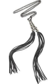 ACBLeather tassel lariat necklace