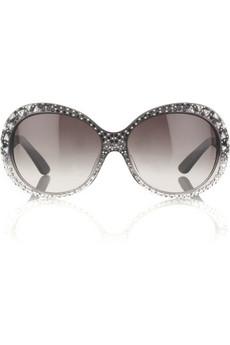 Emilio PucciOval crystal-embellished sunglasses