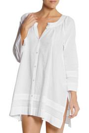 Donna Karan Sleepwear Pintucked cotton-batiste nightshirt