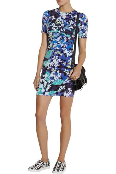 05caf6e6c63 Floral-print cotton-blend jersey mini dress