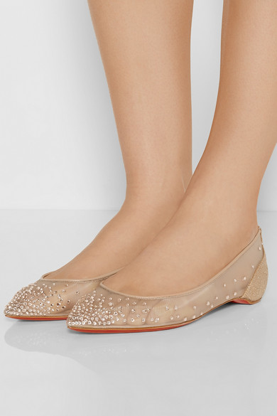 louboutin trainers - Christian Louboutin | Body Strass embellished mesh point-toe flats ...