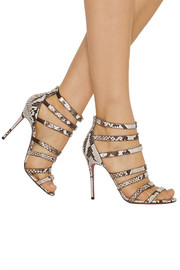 Christian Louboutin Mariniere 100 glossed-python sandals