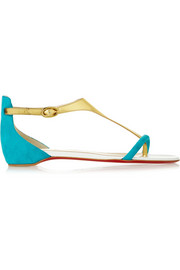 Christian Louboutin Athena metallic leather and suede sandals