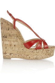 Christian Louboutin Wedgy Lady 140 leather and cork sandals