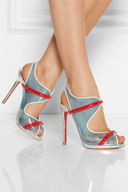 Christian Louboutin Aqua Ronda leather and PVC sandals