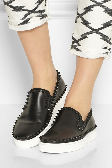 Christian Louboutin | Pik Boat spiked leather slip-on sneakers ...