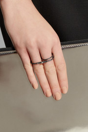 Maria Black Double Harper oxidized silver two-finger ring
