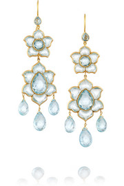MUNNU Lotus 22-karat gold aquamarine earrings