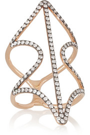 Diane Kordas Shield 18-karat rose gold diamond ring