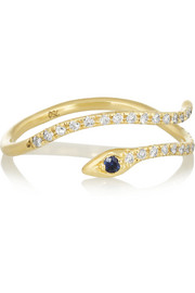 Diane Kordas 18-karat gold, diamond and sapphire snake ring