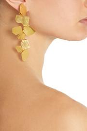 Hervé Van der StraetenHammered gold-plated clip earrings