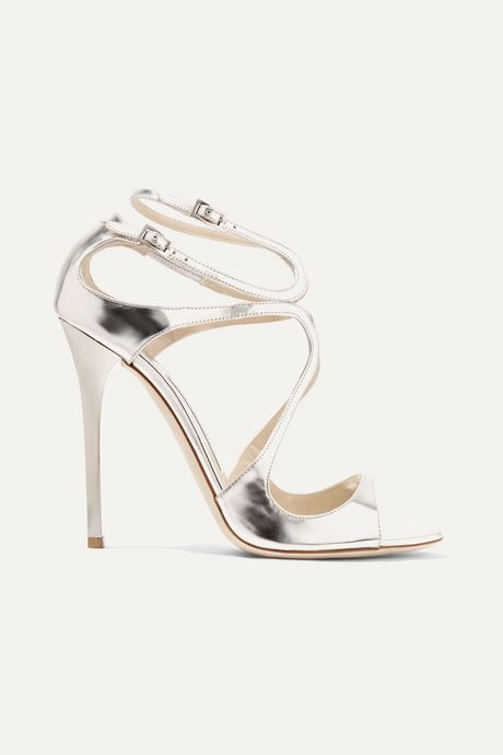 Silver Lance 115 metallic leather sandals | Jimmy Choo jKPid8