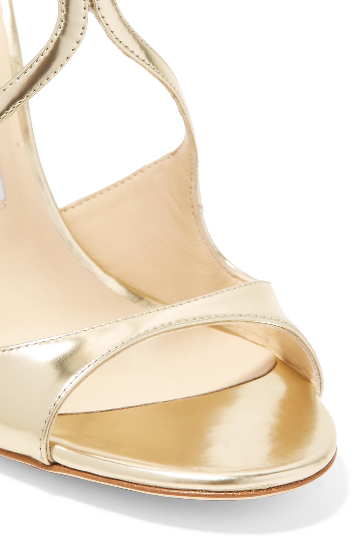 Jimmy Choo Lang 100 metallic leather sandals