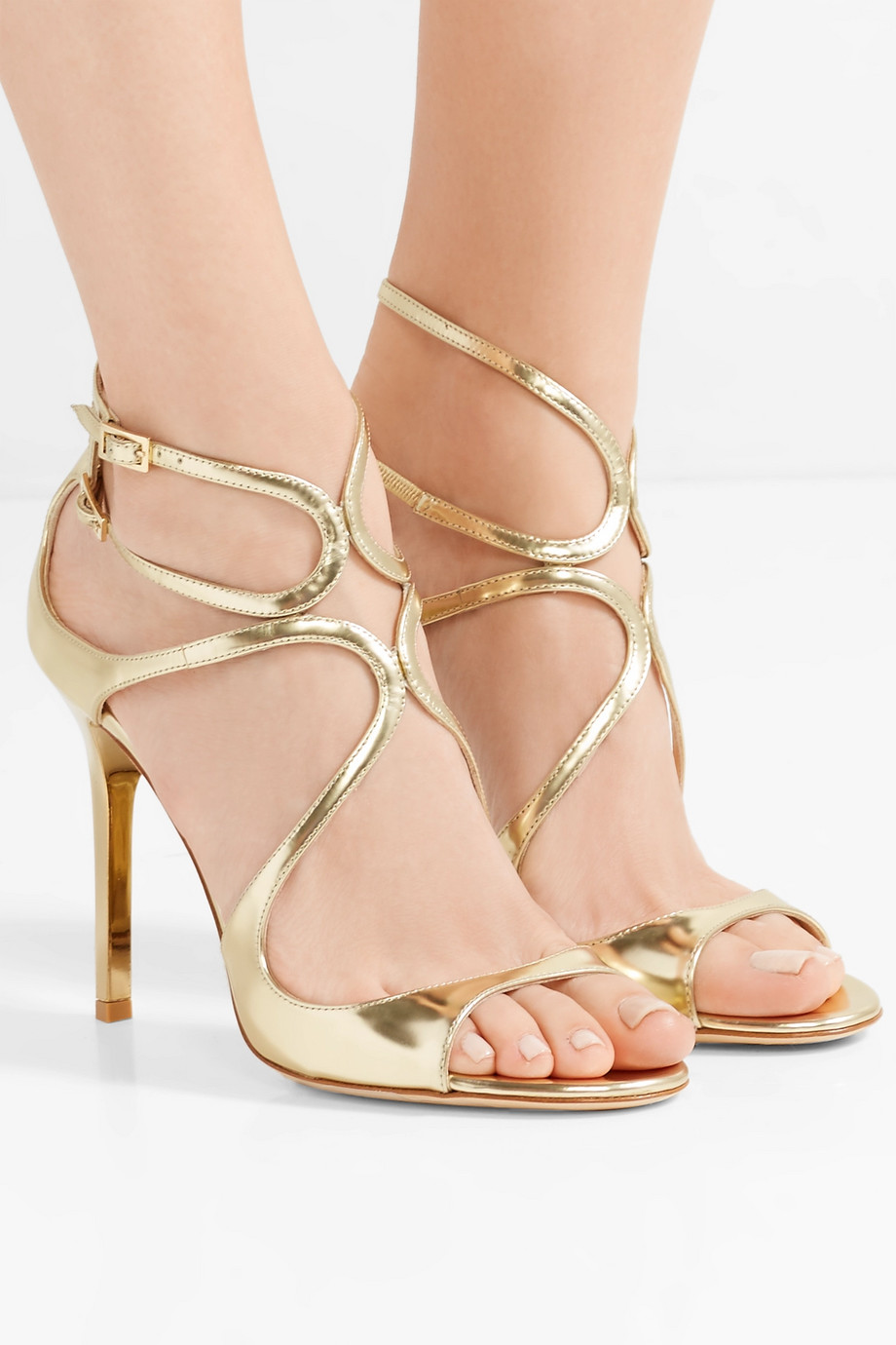 Jimmy Choo Lang 100 metallic leather sandals