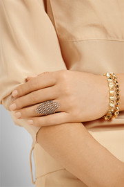 Diane Kordas 18-karat rose gold, rhodium-plated and diamond mesh ring