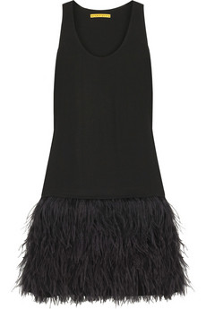 Alice + Olivia Francesca feather fringe dress