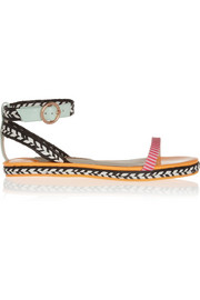 Bea patent-leather and raffia sandals