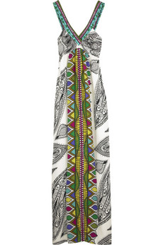 Tibi Printed silk halter maxi dress