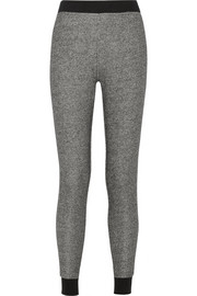 Marled cotton French terry track pants
