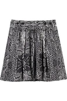 MajeNoel snakeskin-print silk skirt