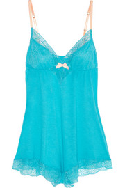 Eberjey Summer lace-trimmed jersey playsuit