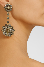 Oscar de la RentaGold-plated crystal drop clip earrings
