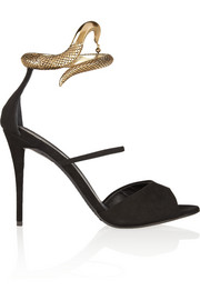 Giuseppe Zanotti Coline snake-effect metal and suede sandals