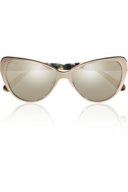 Prism Capri cat eye metal and acetate mirrored sunglasses
