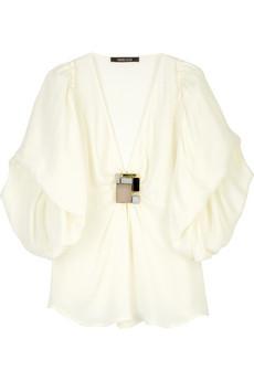 Roberto Cavalli Brooch detail silk blouse
