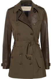 Burberry Brit Leather-sleeved gabardine trench coat