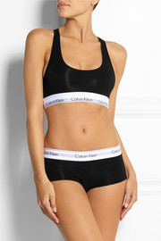 Calvin Klein Underwear Modern racer-back stretch cotton-blend soft-cup bra