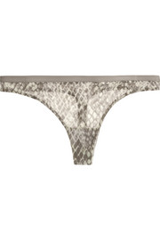 Calvin Klein Underwear Abstract snake-print stretch-mesh thong