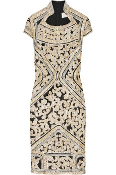 Marchesa Embroidered silk sheath dress