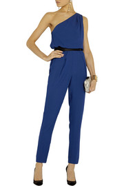 Halston Heritage One-shoulder belted crepe jumpsuit