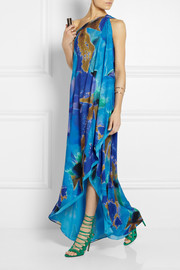 Halston Heritage One-shoulder printed brushed-satin gown
