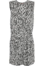 Halston Heritage Printed stretch-silk playsuit