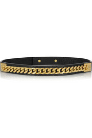 Sophie Hulme Leather and gold-plated chain belt
