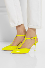 Ida neon patent-leather T-bar pumps
