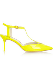 Sophia Webster Ida neon patent-leather T-bar pumps
