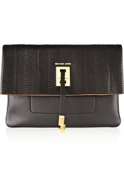 Miranda leather and snake clutch