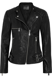 McQ Alexander McQueen Crinkled-leather biker jacket