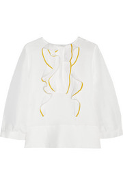 Chloé Ruffled linen and silk-blend top