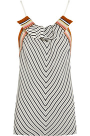 Ruffled striped washed-satin top